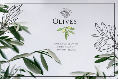 Olive Design. Watercolor and graphic