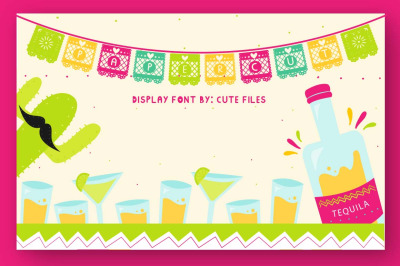 Papercut blocks font a mexican party banner