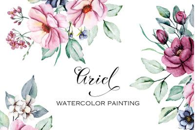 Watercolor flowers set Ariel. Pink peonies, indigo, burgundy roses.