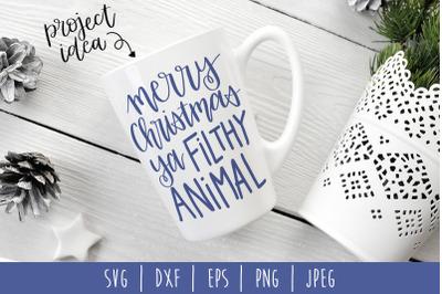Merry Christmas Ya Filthy Animal SVG, DXF, EPS, PNG, JPEG