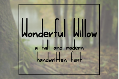Wonderful Willow: a tall and modern handwritten font
