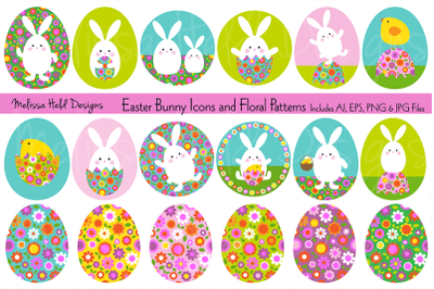 Easter Bunny Graphics & Floral Patterns