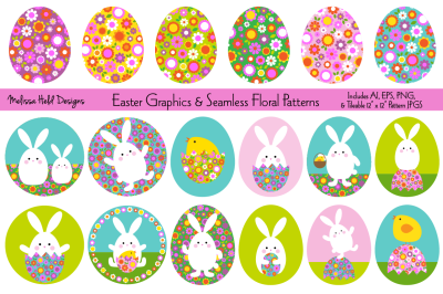 Easter Bunny Graphics & Seamless Floral Patterns