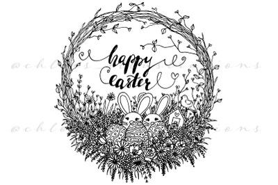 Vector Happy Easter Wreath Line Art