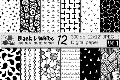 Black and White hand drawn seamless doodle geometric patterns
