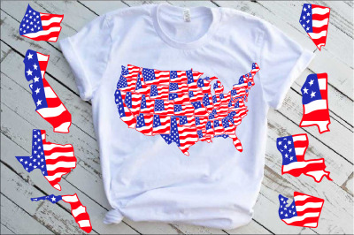 United States Flag Map Individual State Svg USA 50 america 1288S