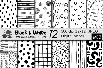 Black and White hand drawn seamless doodle geometric digital papers