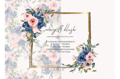 Watercolor Navy and Blush Floral Bouquet Clipart