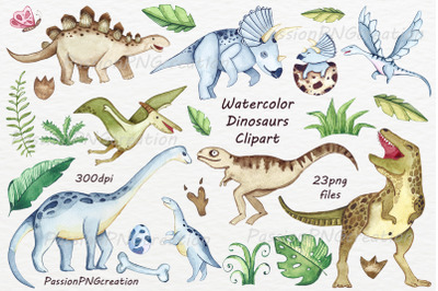 Watercolor Dinosaurs Clipart
