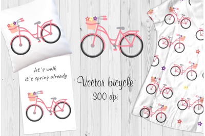 Vector pink bicycle +postcard