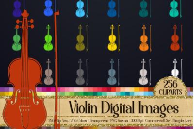 256 Solid Color Violin Instrument Printable Sticker Clip Arts