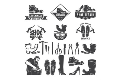 Monochrome illustrations of various tools for shoe repair. Labels or l