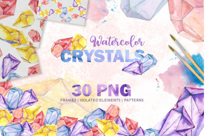 Magic Watercolor Crystals PNG set