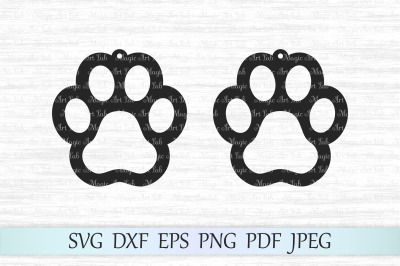 Paw earrings SVGs, Paw earrings cut files