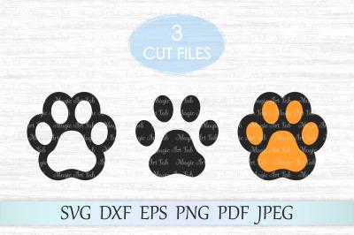Paw print cut file, Dog paw svg, Paw print clipart