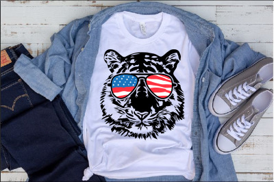 Wild Tiger Head Whit USA Flag Glasses United State svg Tigers 1289s