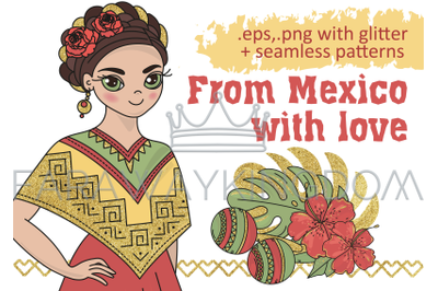 MEXICO Golden Travel Vector Illustration Seamless Pattern Set