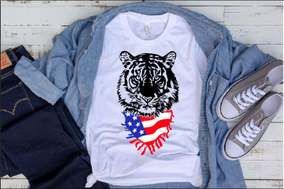 Tiger Head Whit USA Flag scarf bandana United State svg Tigers 1290s