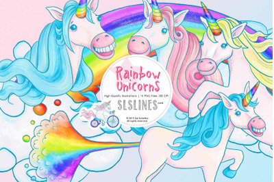 Rainbow Unicorn Illustrations, PNG files