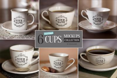 6 Vintage Cups Mockups Bundle