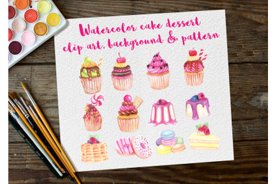 watercolor Clip art dessert cake