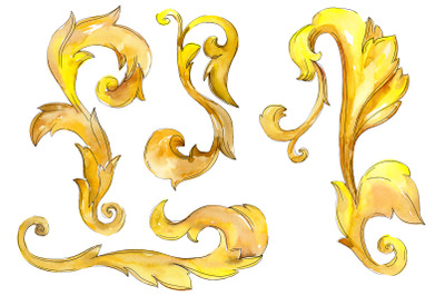 Gold monograms 3 Watercolor png