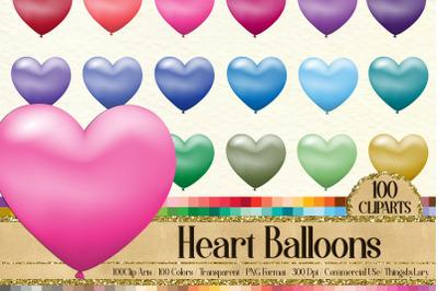 100 Gradient Matte Heart Balloon Printable Sticker Clip Arts