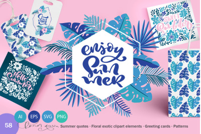 Summer Exotic Palm Design Elements SVG
