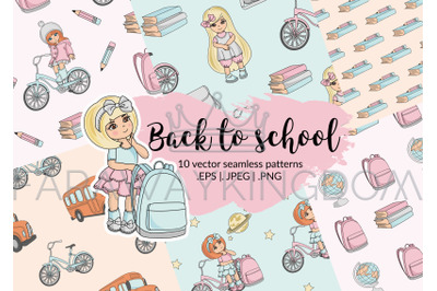 BACK TO SCHOOL Vector Illustration Seamless Pattern Set