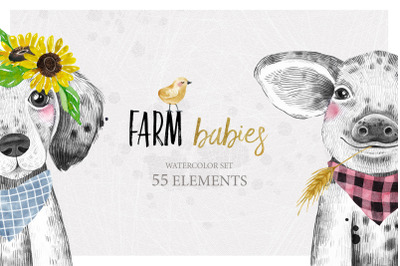 FARM BABIES watercolor set