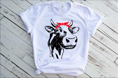 Cow Whit Bandana Horns SVG cattle matador bull bulls Beef 1291S