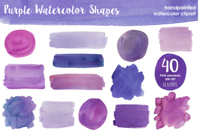 Purple & Violet Watercolor Shapes Bundle