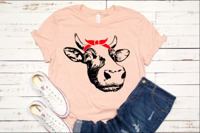 Cow Head whit Bandana Silhouette SVG heifer cowboy western Farm 1292s