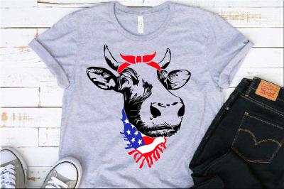 Cow Head whit Bandana and Scarf US flag SVG cowboy Heifer Farm 1293s