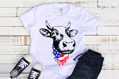 Cow Head whit Scarf US flag SVG Not today Heifer Farm 1294S