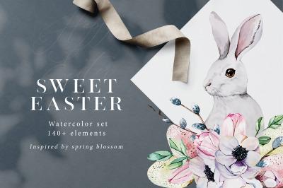 Sweet Easter. Spring Watercolor Set