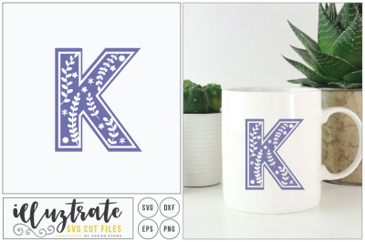 Letter K SVG Alphabet - DXF cut files - Vector Clipar