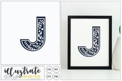 Letter J SVG Alphabet - DXF cut files - Vector Clipar