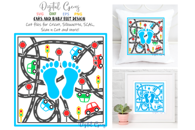 Baby feet and cars / baby boy design