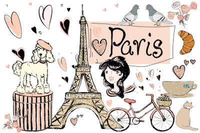 Paris | Clip Art Illustrations | PNG/JPEG