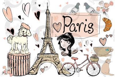 Paris   Clip Art Illustrations   PNG/JPEG