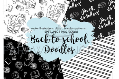 BACK TO SCHOOL DOODLES Vector Illustration Seamless Pattern Set