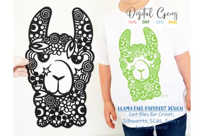 Llama face papercut design