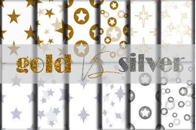 Seamless patterns gold and silver stars