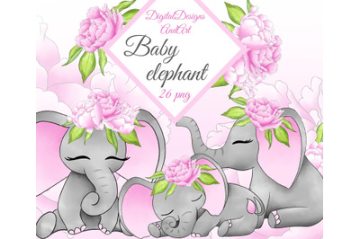 Baby elephant in pink