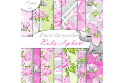 Baby elephant pattern in pink