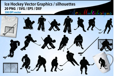 Ice Hockey svg silhouette bundle / ice hockey vectors