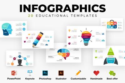 20 Infographics. Education templates. PSD AI EPS PPT KEY