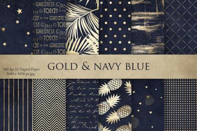 Gold Navy Blue Digital Paper
