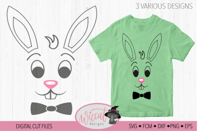 Easter Boy Bunny face with bow tie, Easter shirt design